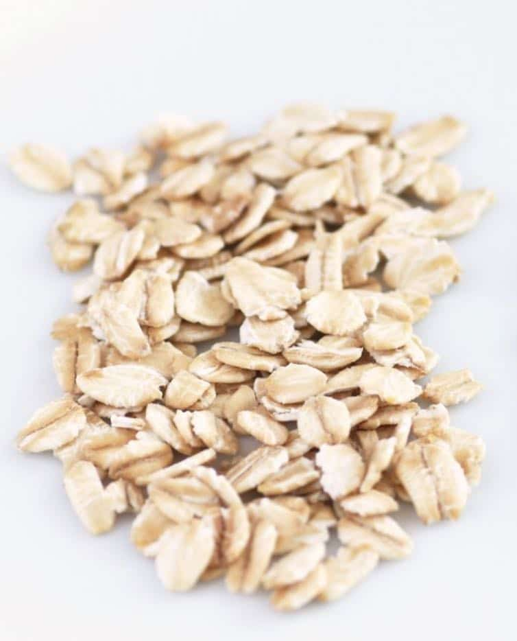 Rolled oats on a flat surface