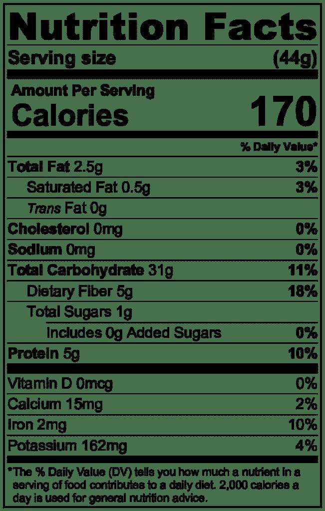 Steel cut oats nutrition information