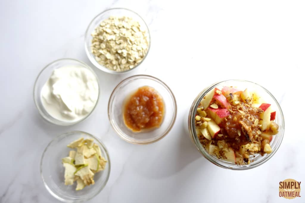 The oats, yogurt, and dried apples needed to make one serving of apple butter overnight oats.