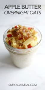 One serving of apple butter overnight oats in a glass container.