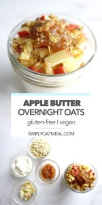 Apple butter overnight oats and the ingredients needs for meal prep in a jar.