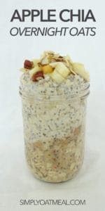 Apple chia overnight oats filling a glass container.
