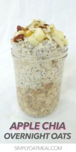 The single serving of apple chia overnight oats fills a glass jar.