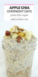 The apple chia overnight oats are topped with chopped apples and sliced almonds.
