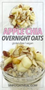 Close up view of the fresh apples and sliced almonds oatmeal topping that cover the apple chia overnight oats.