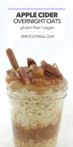 Apple cider overnight oats topped with applesauce and chopped pecans.