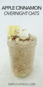 Mason jar filled with apple cinnamon overnight oats.
