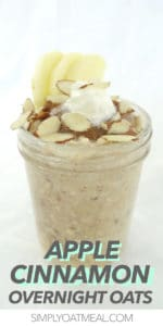 a serving of apple cinnamon overnight oatmeal topped with sliced almonds and whipped cream.