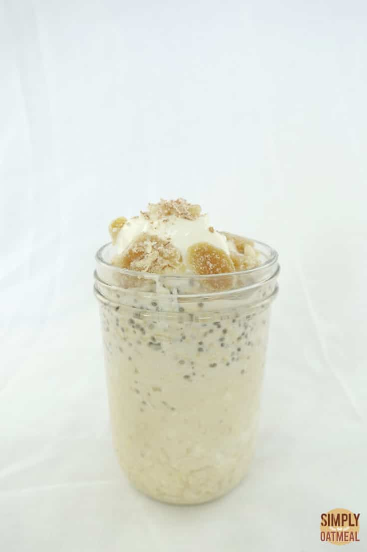 Single serving of apple ginger overnight oats in a mason jar.