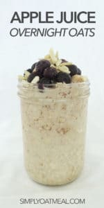 A serving of apple juice overnight oats in a tall glass jar.