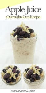 Collage of apple juice overnight oats photos including side view, top view and closeup of the blueberries and slivered almond oatmeal toppings.