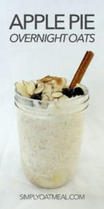 An overnight oats container filled with a single serving of apple pie overnight oats.