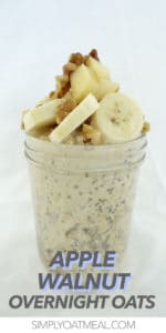 Single serving of overnight oatmeal topped with diced apple and chopped walnuts.