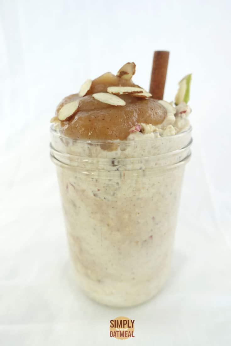 One serving of applesauce overnight oats in a mason jar.