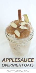 Creamy overnight oatmeal topped with homemade applesauce.