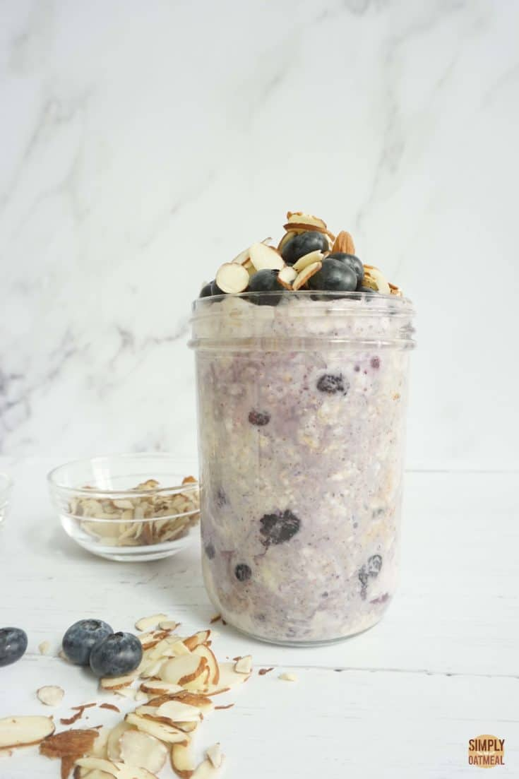 The blueberry almond overnight oats looks slightly purple because of the oats changed color from the berries..