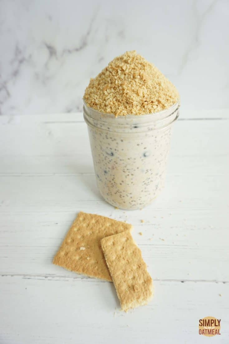 Single serving of blueberry Greek yogurt overnight oats served with crushed graham crackers on top