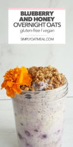 Serving or blueberry honey overnight oats topped with toasted granola