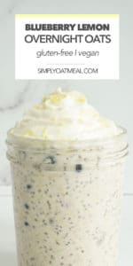 One portion of blueberry lemon overnight oats in a glass container topped with fresh lemon zest.