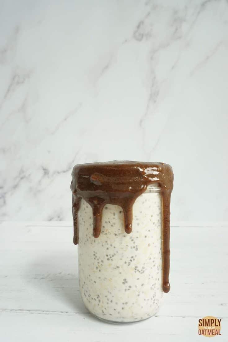 Single serving of blueberry maple overnight oats in mason jar