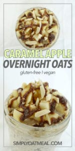 Top view and side view of caramel apple overnight oatmeal in a glass dish.