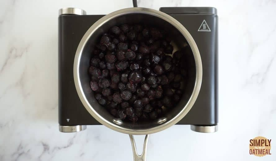 Cook blueberries and spices in a small sauce pan for 3 minutes