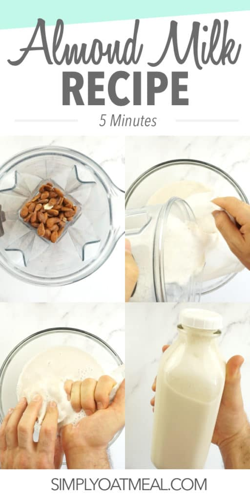 Steps required to make almond milk from scratch.