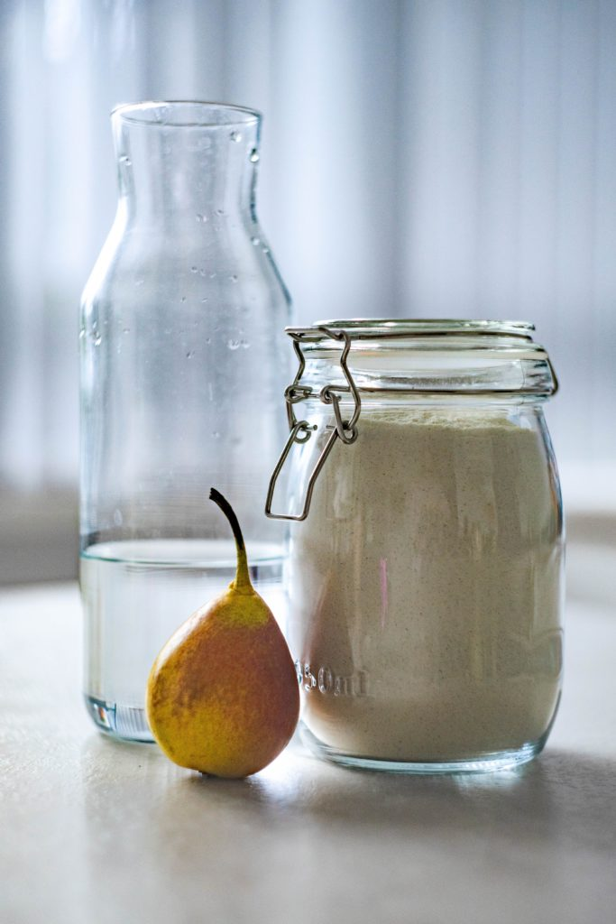 oat flour in a glass container