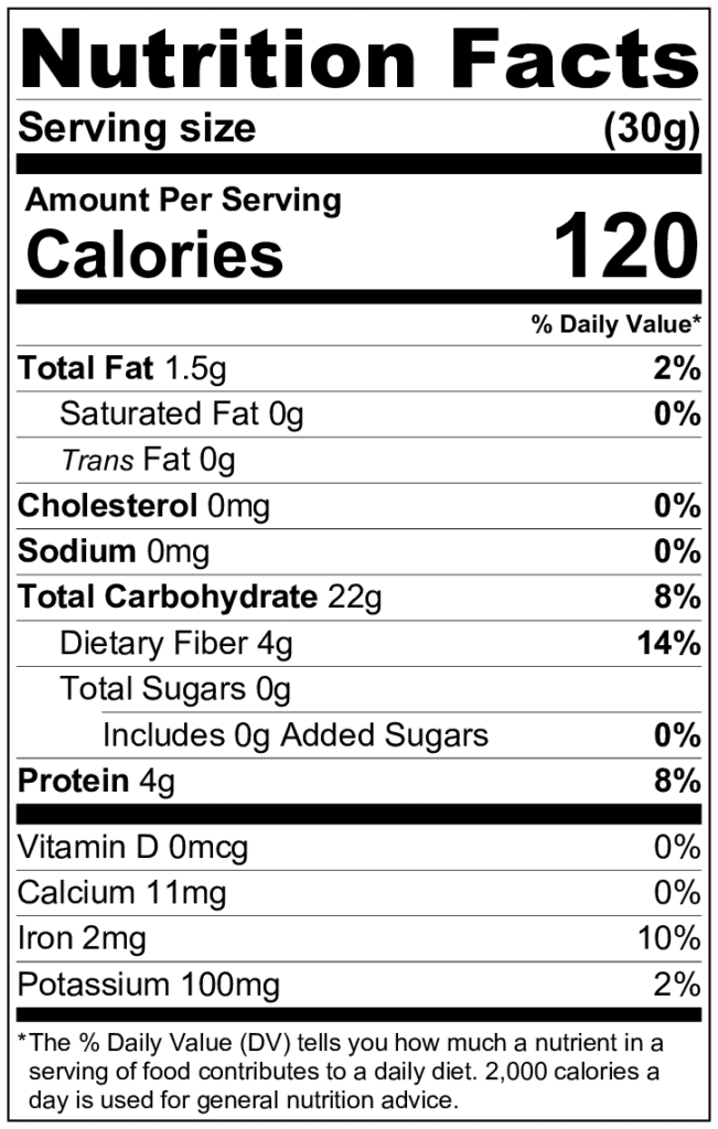 oat flour nutrition information