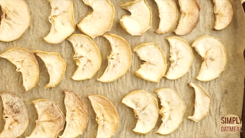 Oven dried apple chips. Bake until they are crunchy and delicious.