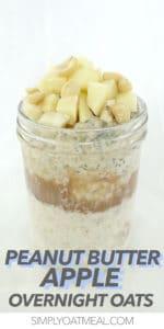 One serving of peanut butter overnight oats in a mason jar.