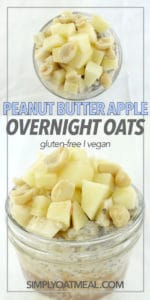 Peanut butter overnight oats topped with fresh apple and peanuts.