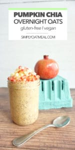 Pumpkin chia overnight oats in mason jar with a spoon on the side.