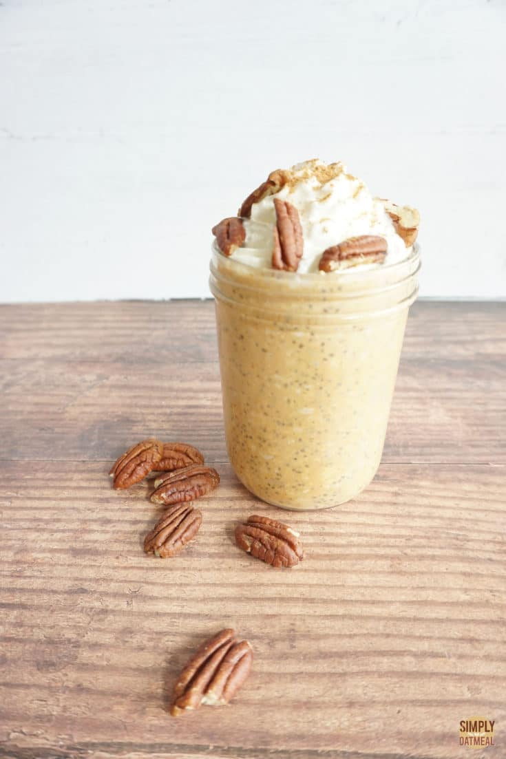 single serving of pumpkin pie overnight oats in a glass container
