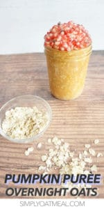 one serving of pumpkin puree overnight oats in a mason jar