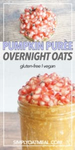 pumpkin puree overnight oats in a glass bowl topped with pomegranate seeds.