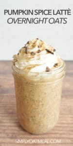 Single serving of pumpkin spice latte overnight oats in a glass container.