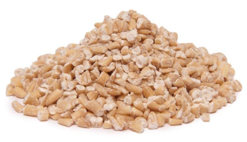 Steel cut oats on a flat white table