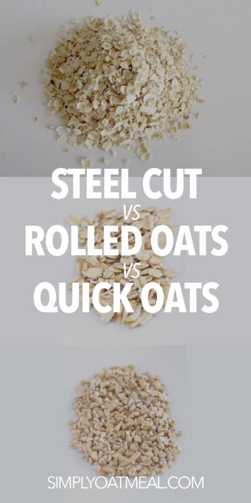 Top down order is quick oats, rolled oats and steel cut oats.