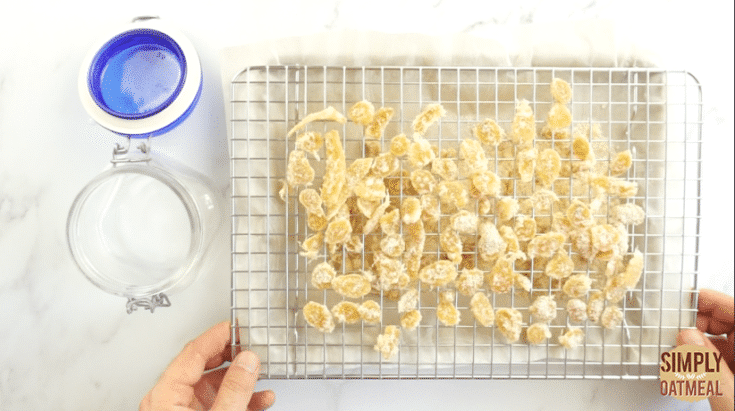 Transfer the candied ginger to an airtight container to preserve freshness.