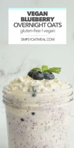 vegan blueberry overnight oats in a glass bowl