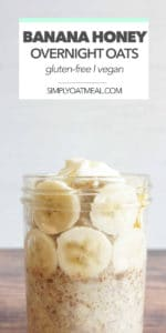 Glass bowl filled with a single serving of banana honey overnight oats.