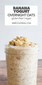 Banana yogurt overnight oats topped with over baked granola and toasted coconut flakes