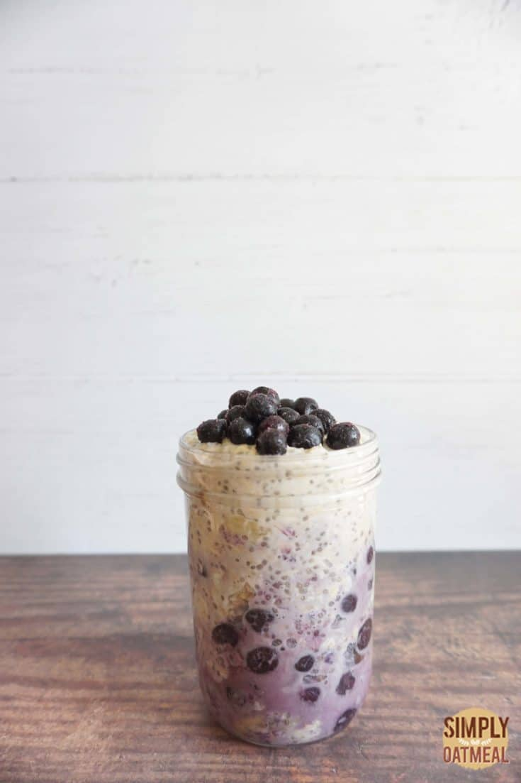 One serving of blueberry banana overnight oats in a meal prep container