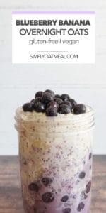 Blueberry banana overnight oats topped with yogurt, blueberries and lemon zest.