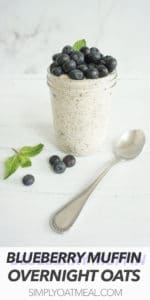 One serving of blueberry muffin overnight oats in a glass container. A spoon is laying next to the dish.