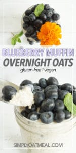 A glass bowl filled with a single serving of blueberry muffin overnight oats. A spoon has a bite of oatmeal and fresh mint garnishes the dish.