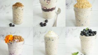 This picture collage includes all of the blueberry overnight oatmeal recipes found on Simply Oatmeal. The recipes are all included, easy to follow and taste amazing!