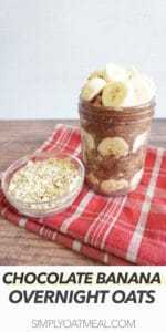 A single serving of chocolate banana overnight oats in a mason jar.