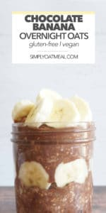 Fresh banana layered with chocolate overnight oats in a glass bowl.